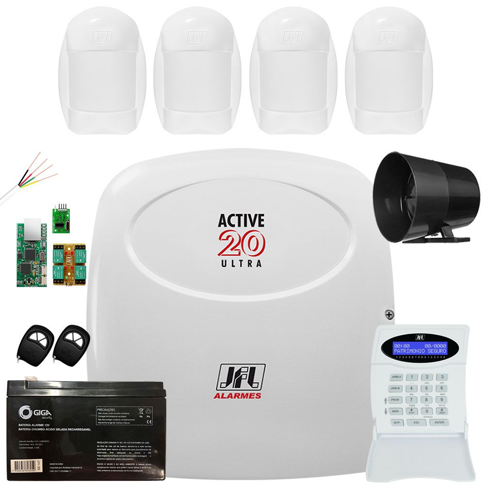Kit Alarme Monitorado Jfl Active 20 Ultra Sensores Idx 1001 Jfl