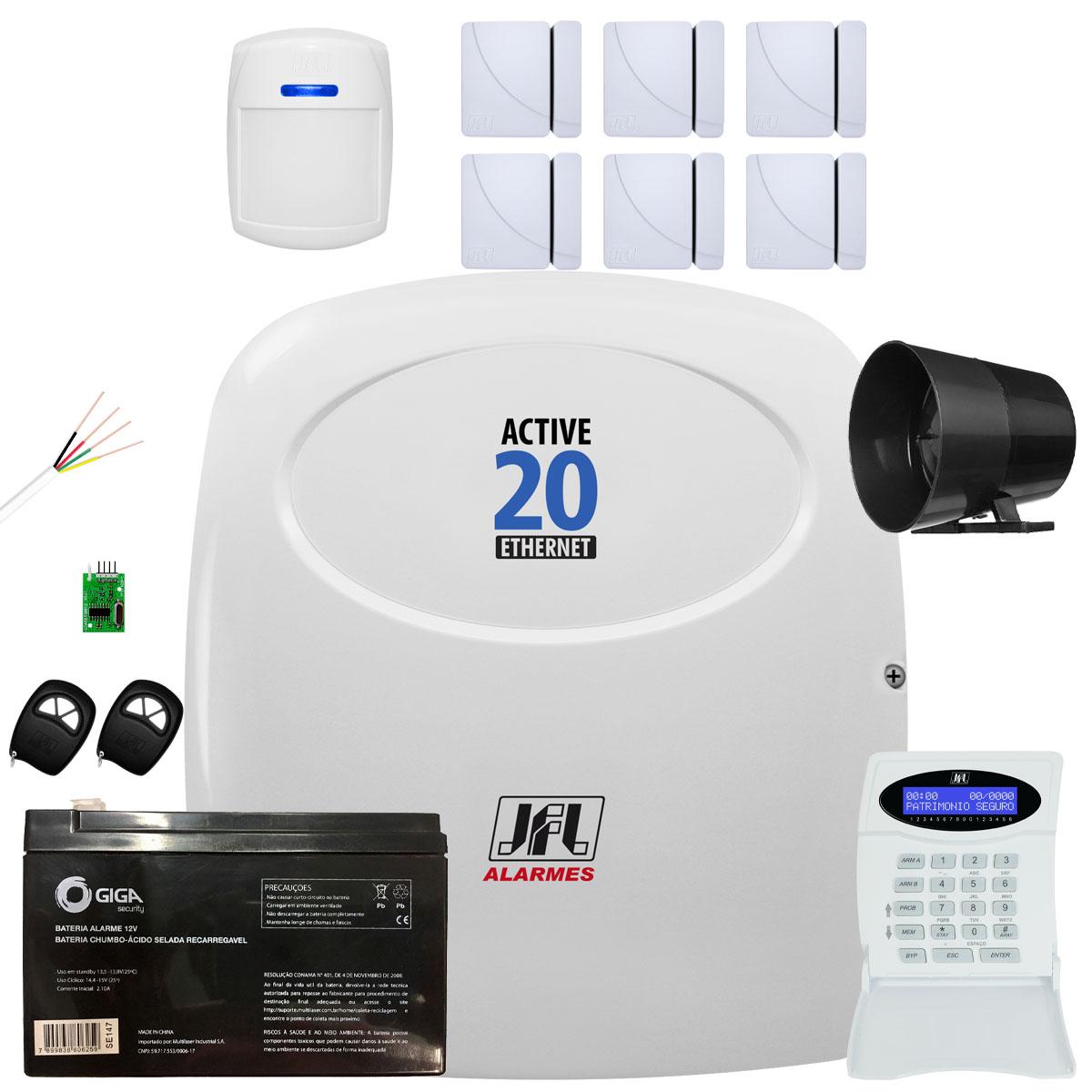 Kit Alarme Residencial Active 20 Ethernet Com Shc Fit E Ds 410 Jfl