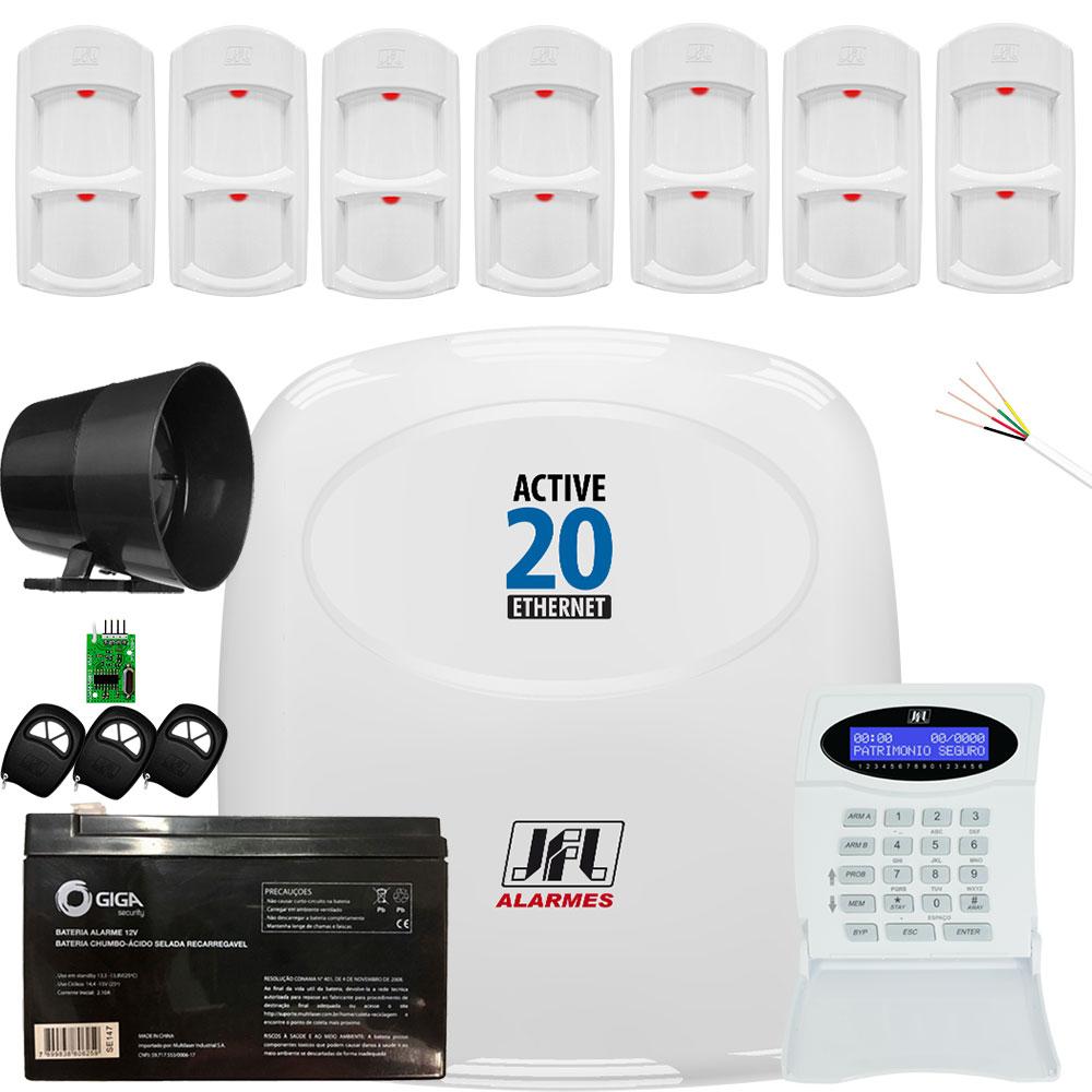 Kit Alarme Residencial Active 20 Ethernet Sensor Ird 640 Jfl