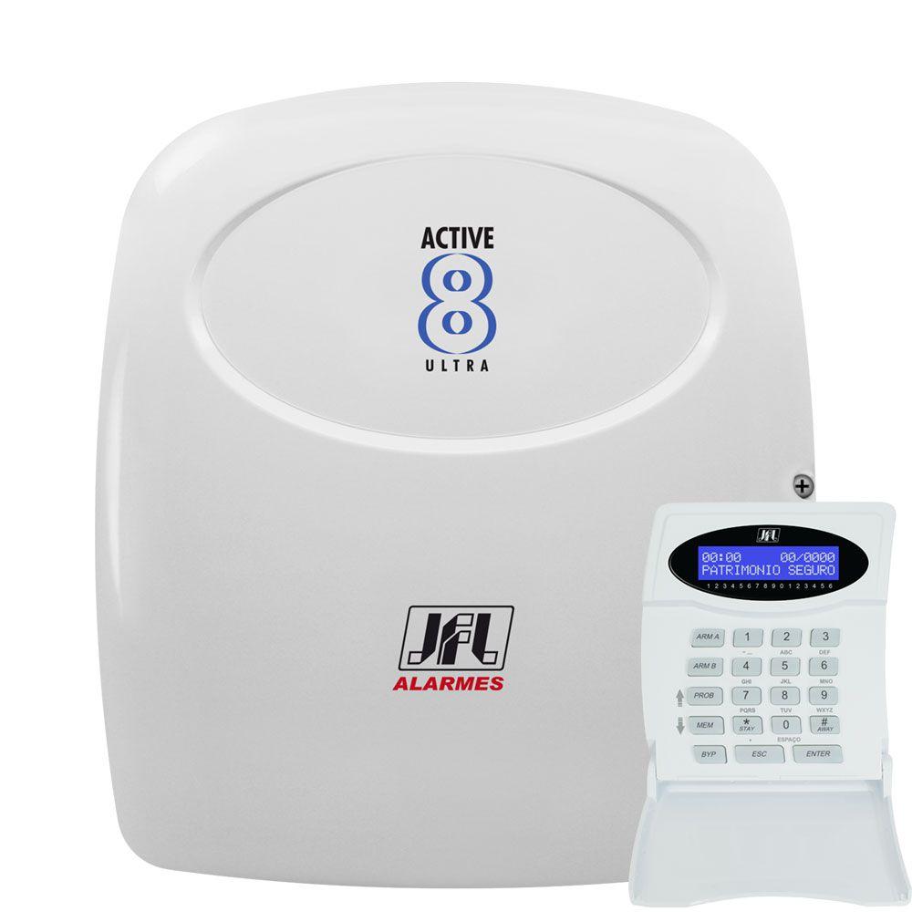Kit Alarme Residencial Active 8 Ultra Com Sensores Interno E Semi Externo