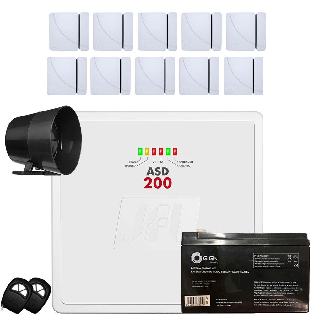 Kit Alarme Residencial Asd 200 Jfl com 10 Sensor Shc Fit