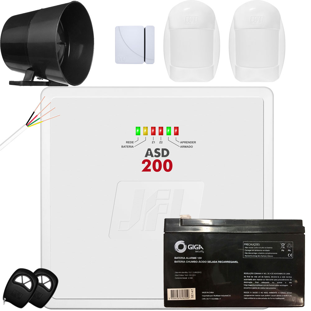 Kit Alarme Residencial Asd 200 Jfl Sensor Pet 20Kg e Shc Fit