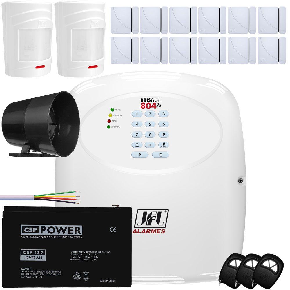 Kit Alarme Residencial Brisa Cell 804 Jfl com Sensores Sem Fio