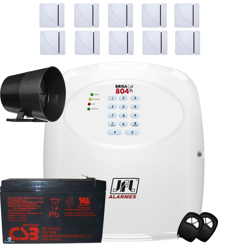 Kit Alarme Residencial Com Discadora Gsm Brisa Cell 804 Jfl
