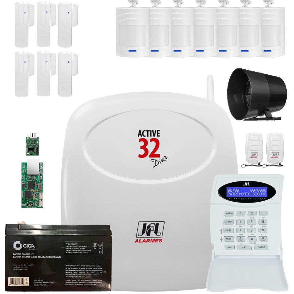 Kit Alarme Residencial Monitorado Active 32 Duo Jfl