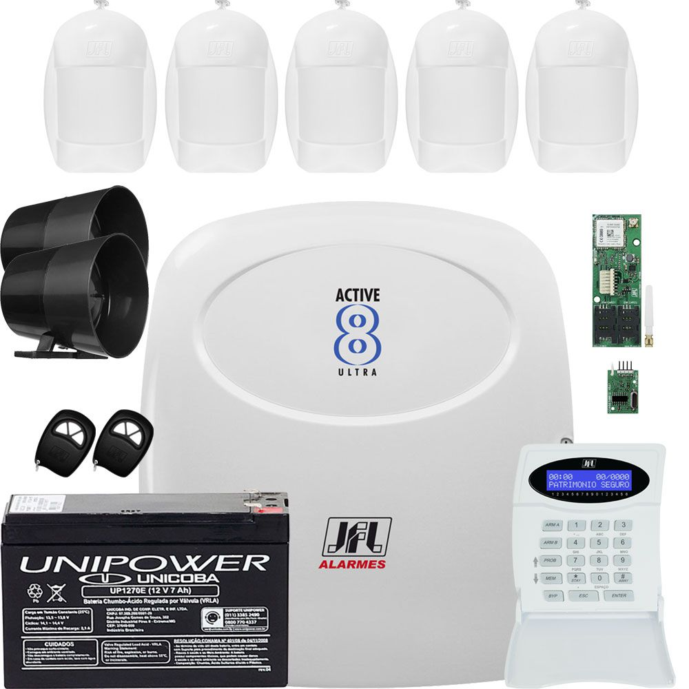 Kit Alarme Residencial Monitorado Active 8 Ultra Jfl