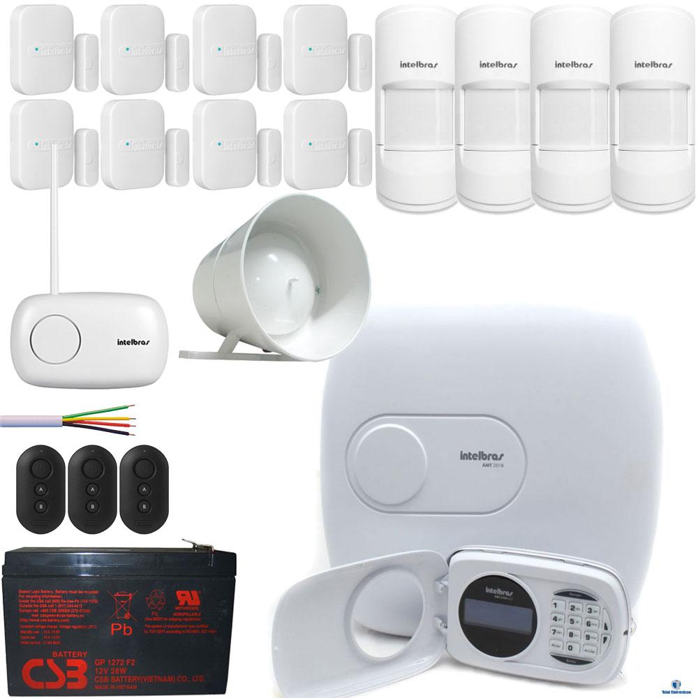 kit alarme residencial monitorado intelbras amt 2018eg. Black Bedroom Furniture Sets. Home Design Ideas