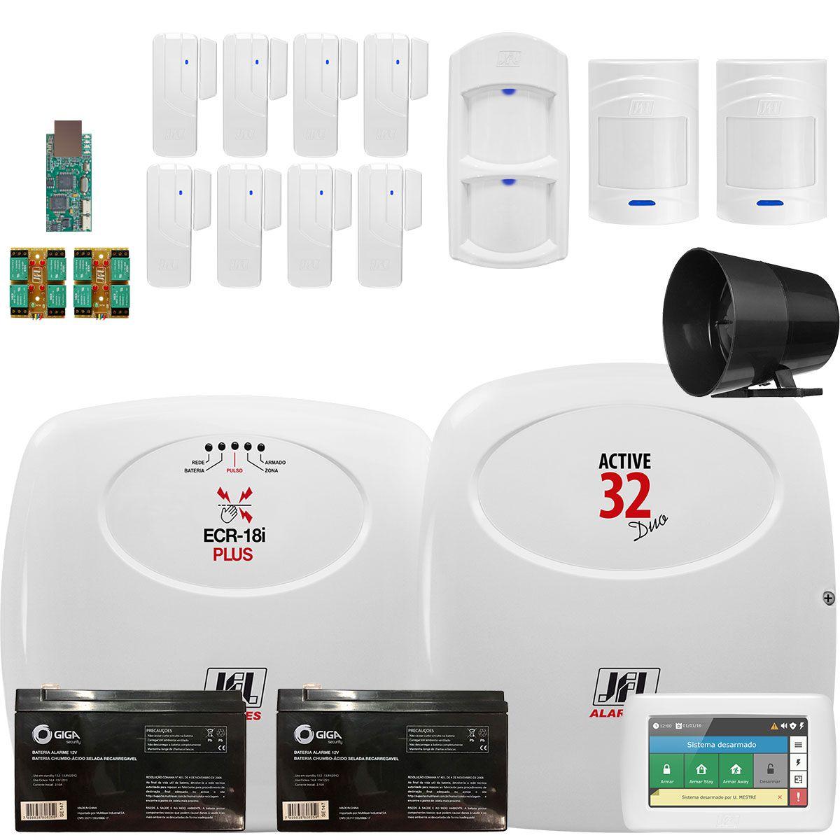 Kit Alarme Residencial Monitorado Sem Fio Jfl Active 32 Duo