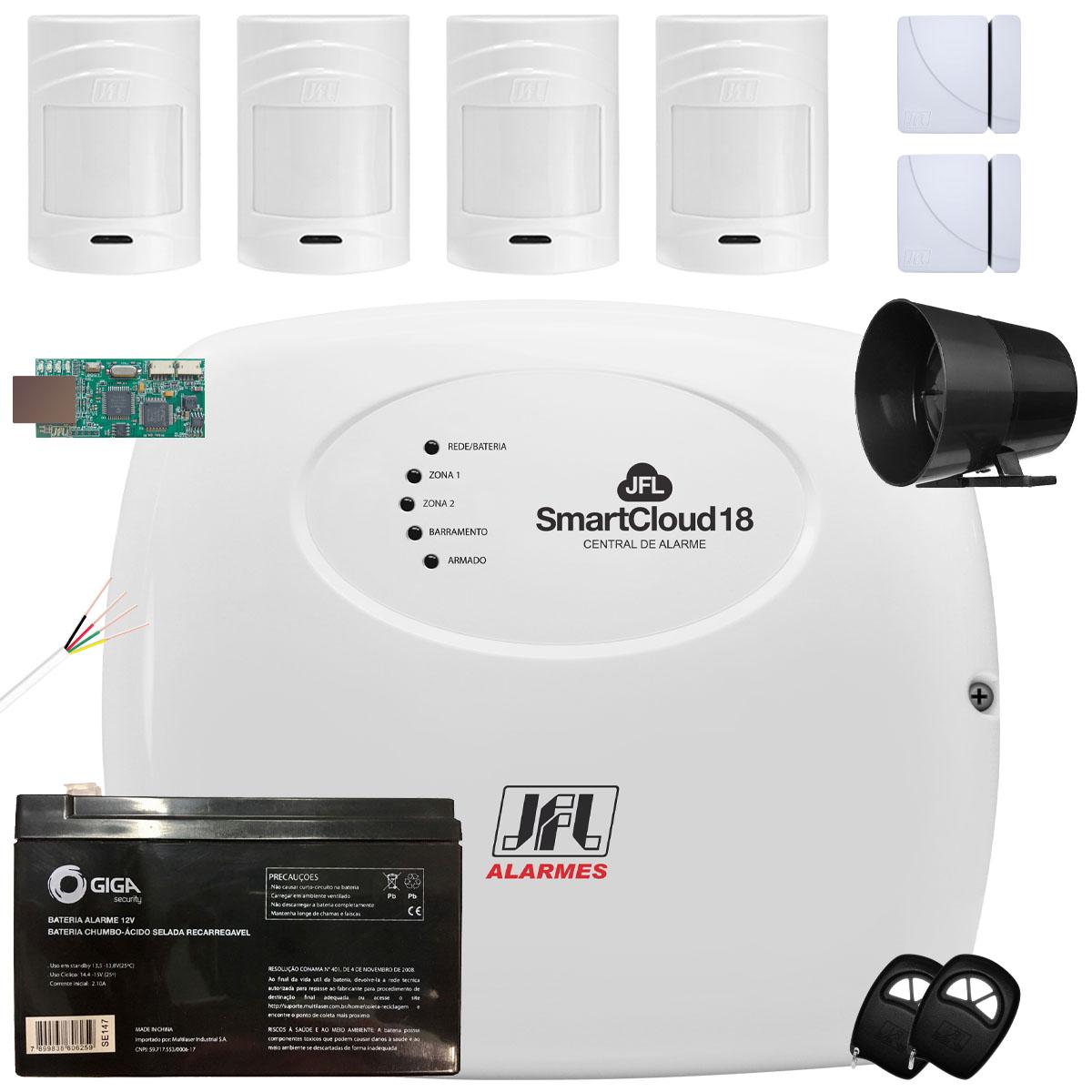 Kit Alarme Residencial SmartCloud 18 Jfl Sensores Shc Fit e IrPet 530sf