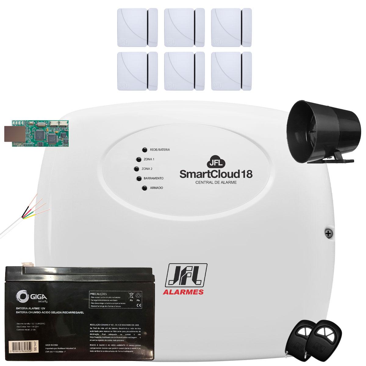 Kit Alarme Residencial SmartCloud 18 Jfl Sensor Sem Fio Shc Fit