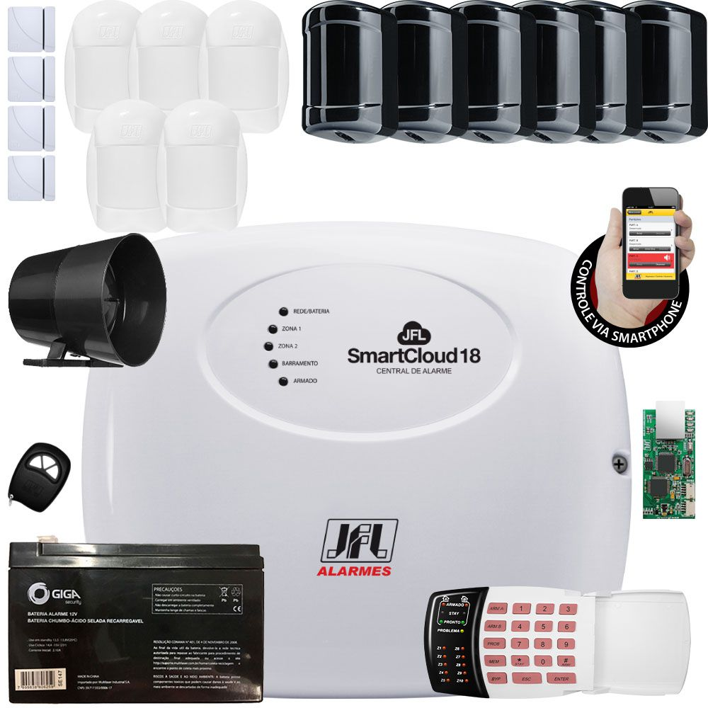 Kit Alarme Smart Cloud 18 Jfl Sensores Shc Fit Idx 1001 e Ira 20