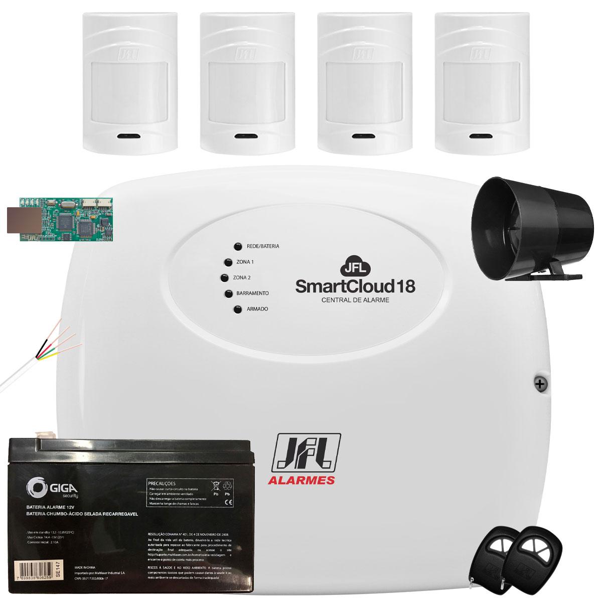 Kit Alarme SmartCloud 18 Jfl 4 Sensores Sem Fio Pet 20Kg IrPet 530Sf