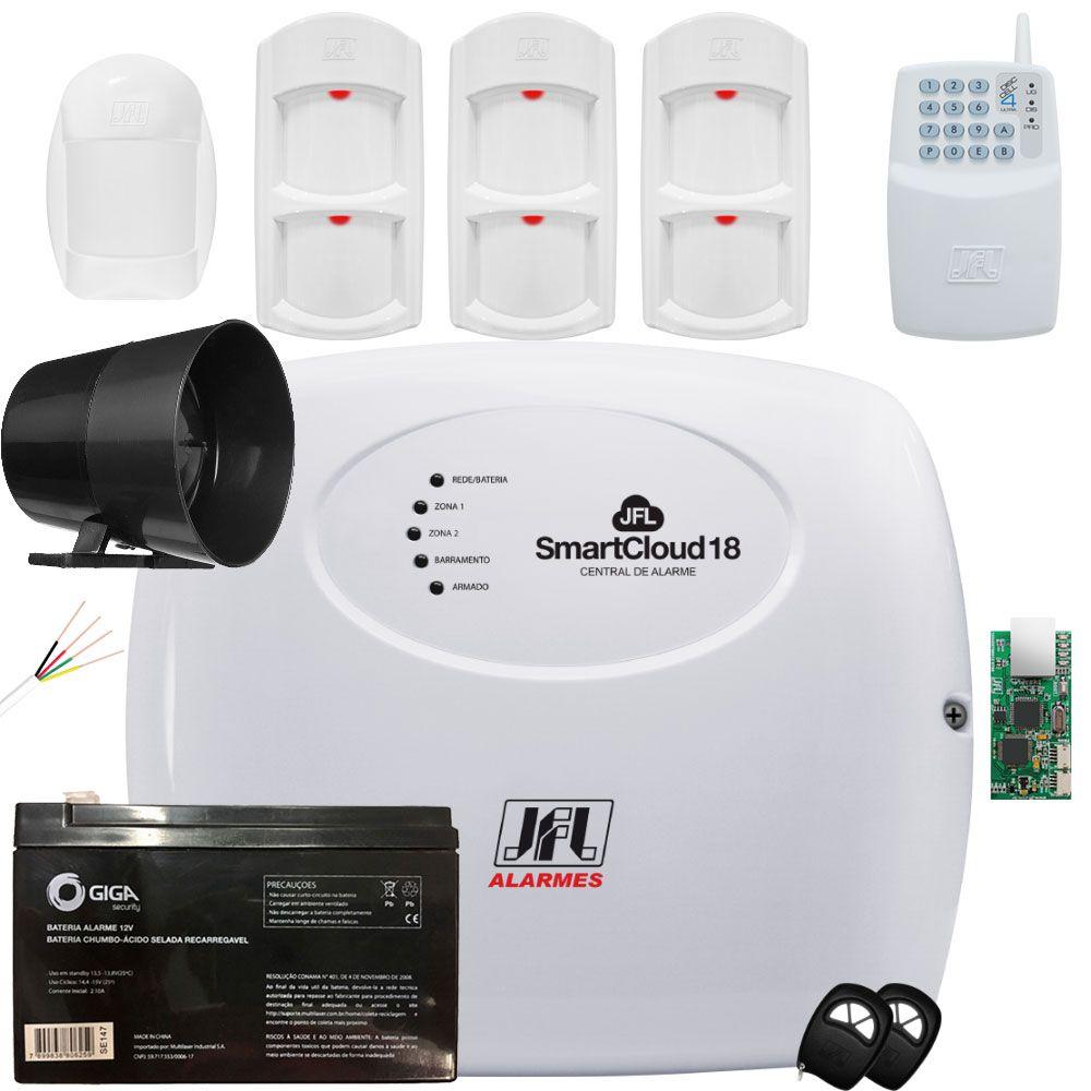 Kit Alarme Smartcloud 18 Jfl Com Discadora Gsm Idx 1001 e Ird 640