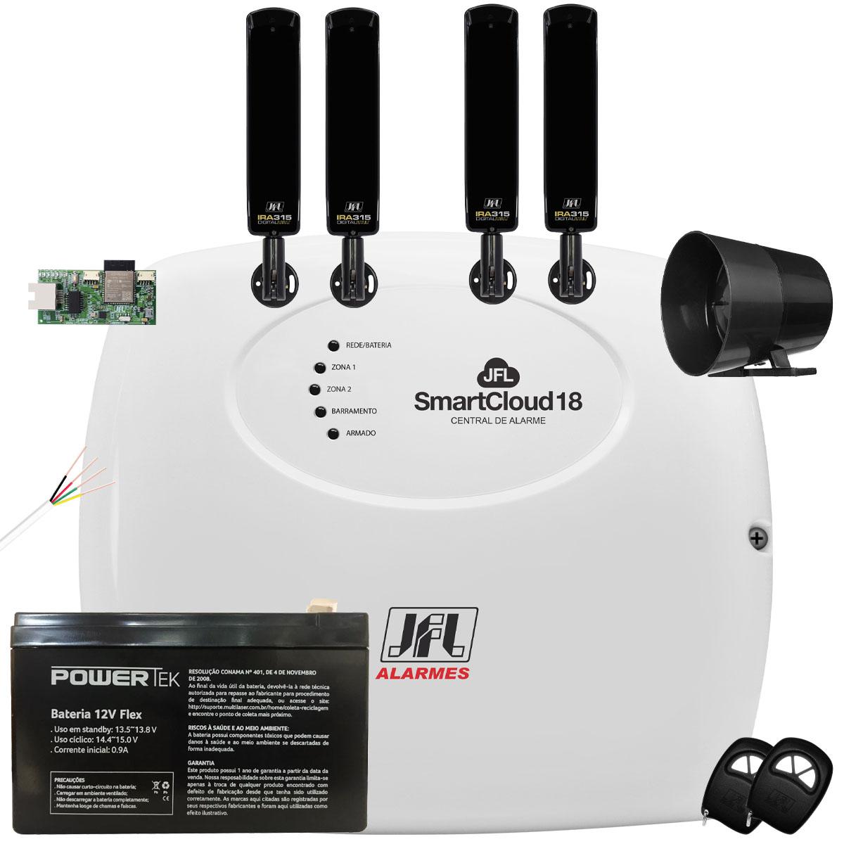 Kit Alarme SmartCloud 18 Jfl Com Sensor Barreira Ira 315