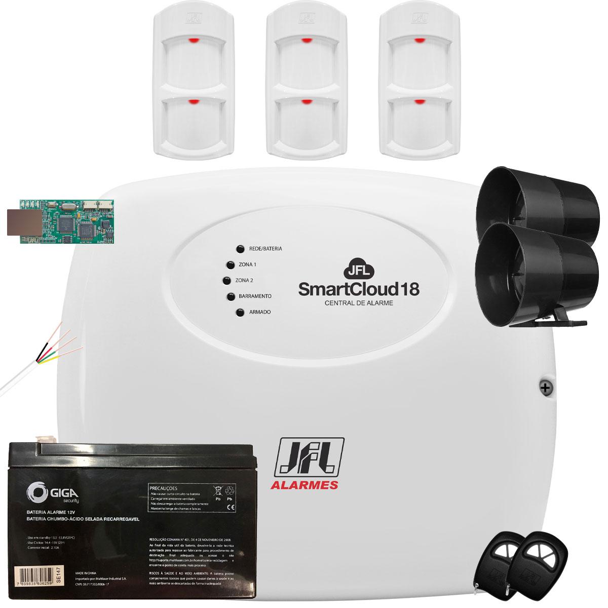 Kit Alarme SmartCloud 18 Jfl com Sensor Pet 30Kg IRD 640