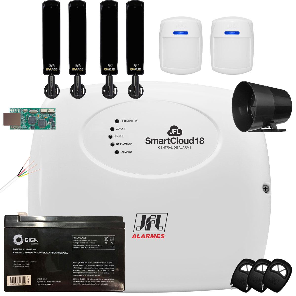 Kit Alarme SmartCloud 18 Jfl Com Sensores Ira 315 e Ds 510 Bus