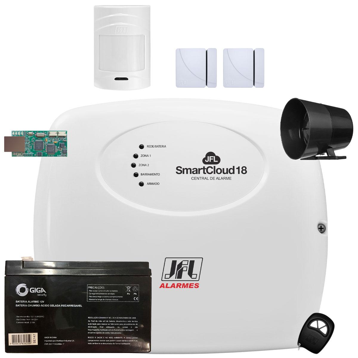 Kit Alarme SmartCloud 18 Jfl Com Sensores Sem Fio