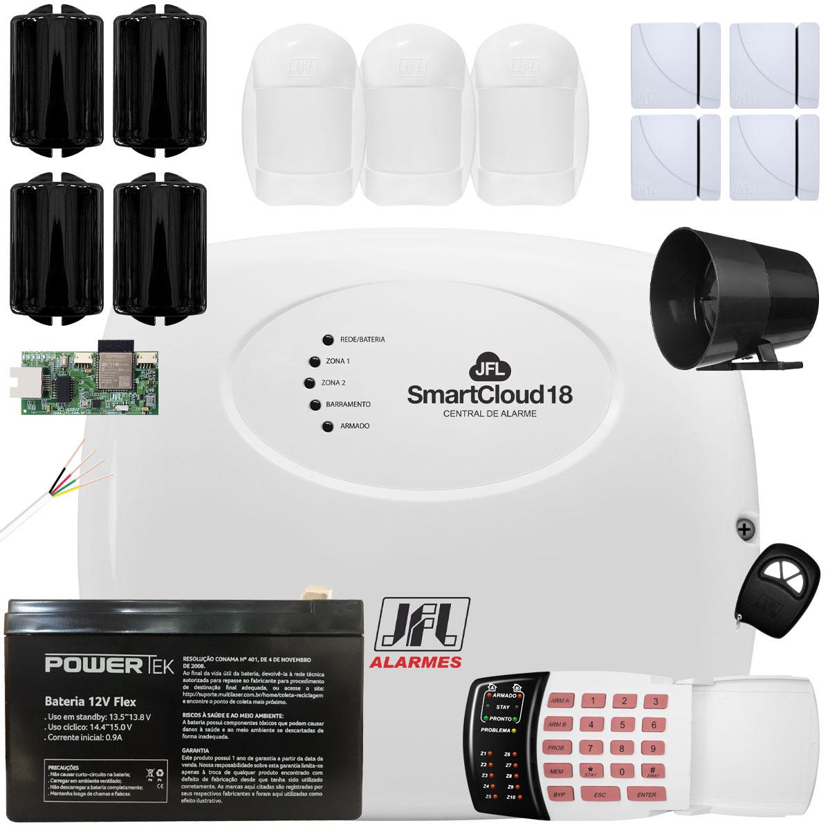 Kit Alarme SmartCloud 18 Jfl Sensores Shc Fit Idx 1001 e Ira 20