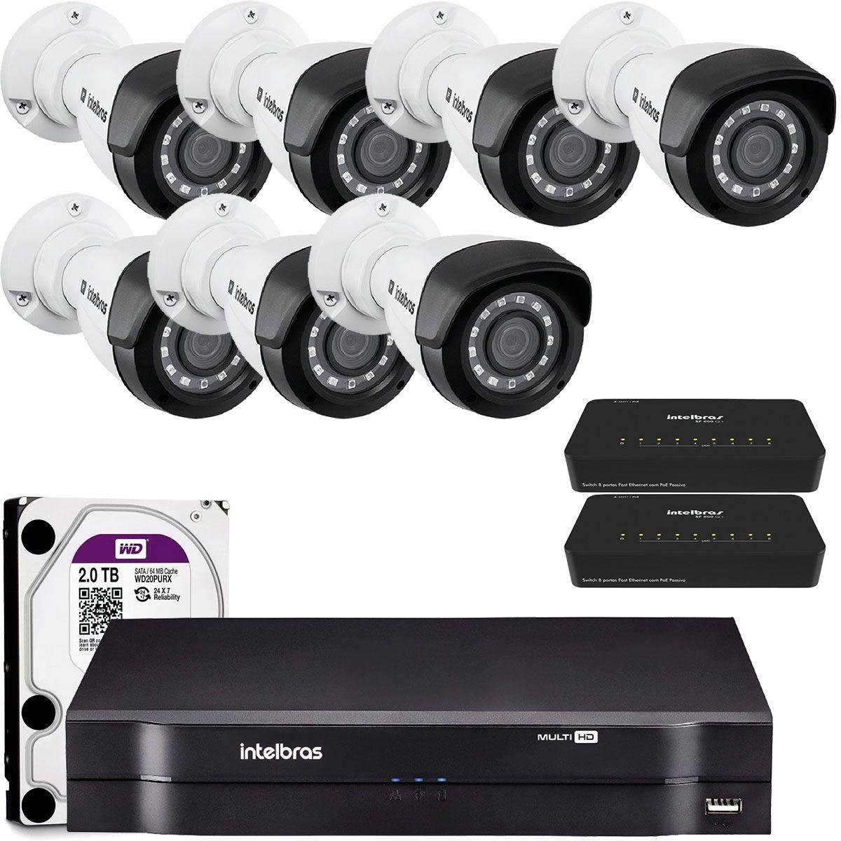 Kit Câmera Ip Intelbras com Nvd 8 Canais e Câmeras 1020 IP