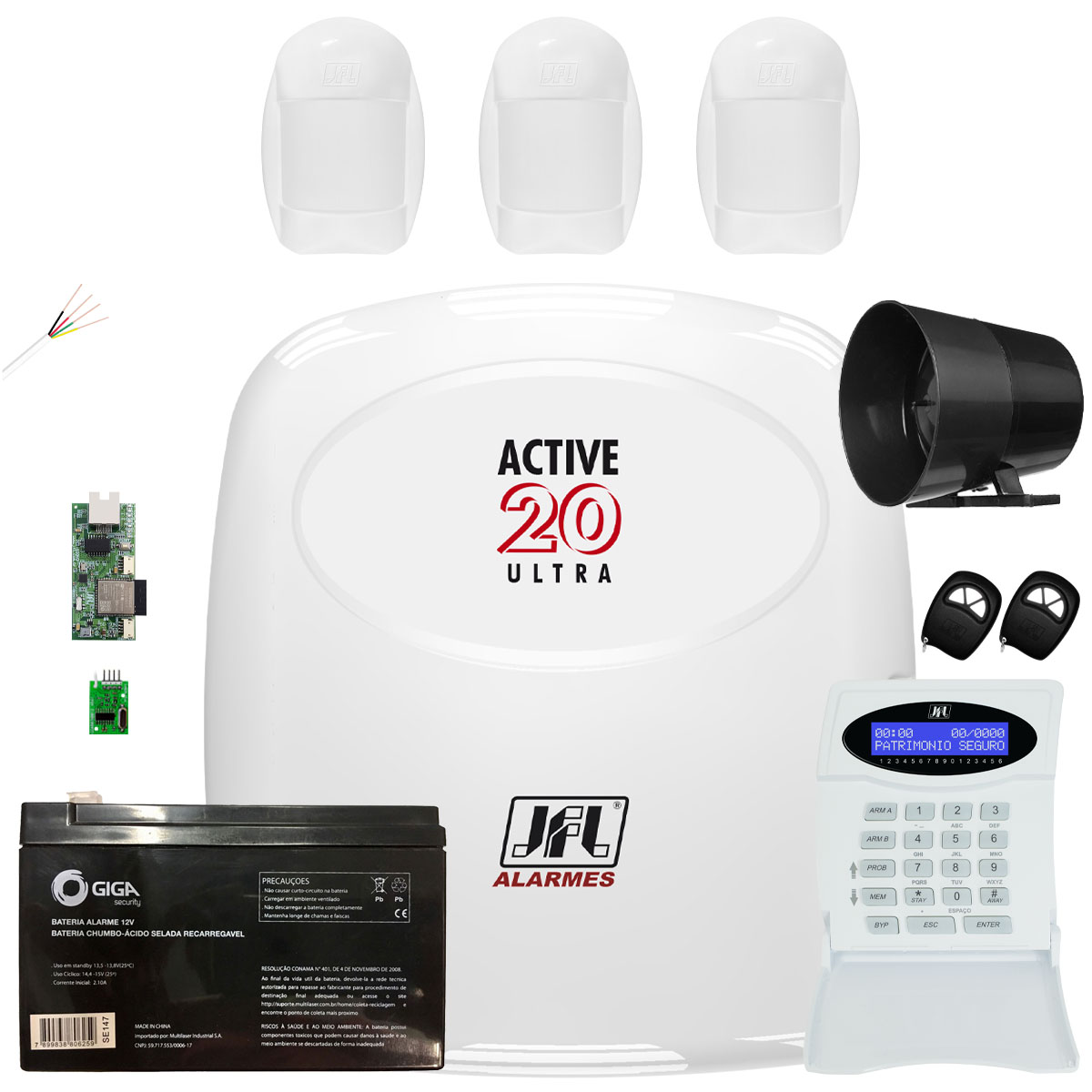 Kit Central Active 20 Ultra Com Modulo Ethernet E Sensores Jfl