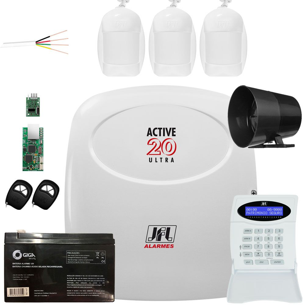Kit Central Active 20 Ultra Com Modulo Ethernet E Sensores Jfl