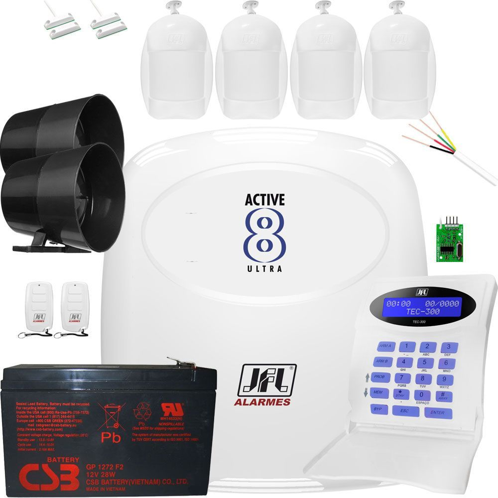 Kit Central De Alarme Monitorado Active 8 Jfl Com Sensores Jfl