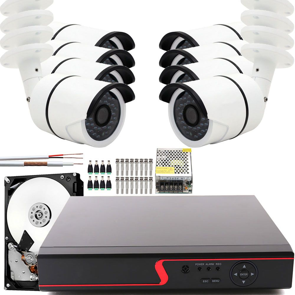 Kit Cftv 8 Cameras Monitoramento Hd Infra 30Mts Dvr 8ch App Cloud