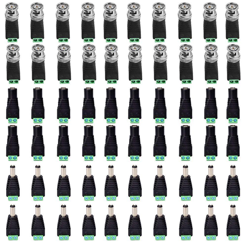 Kit Conectores Cftv 20 Bnc Borne + 20 P4 Macho + 20 P4 Femea