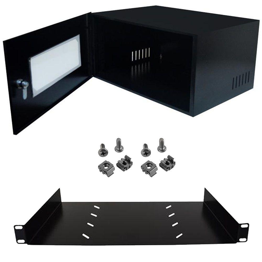 """Kit Rack 19"""" x 5U x 350mm Porta Acrílica Com Bandeja e Porca Preto"""