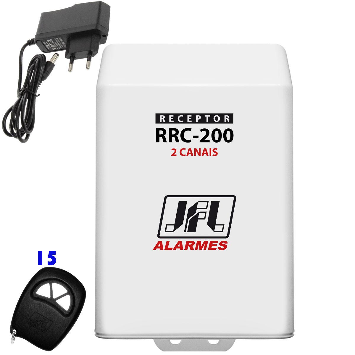 Kit Receptor de 2 Canais Jfl Rrc 200 Com 15 Controles E Fonte