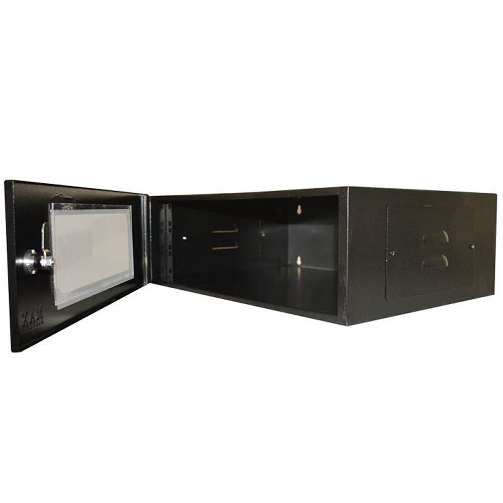 "Mini Rack 19"" x 3U x 350 Economic Porta Acrílica Preto"