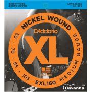 Encordoamento Baixo 4 cordas D'addario Nickel Wound - EXL160 (050-105)