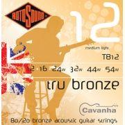 Encordoamento Rotosound Tru Bronze de aço para violão acústico (80/20 Bronze) (012)