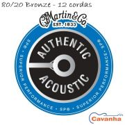 Encordoamento violão 12 cordas Martin Authentic SP 80/20 Bronze