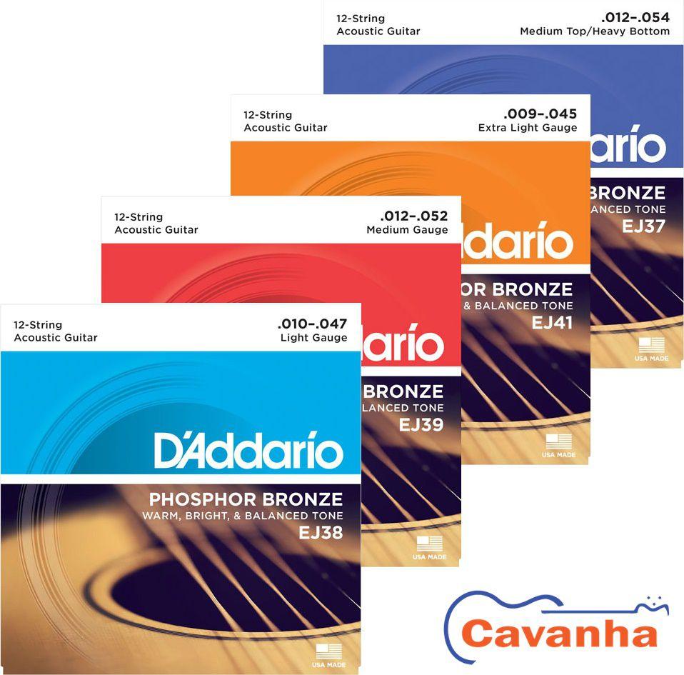 Encordoamento Daddario Phosphor Bronze para violão de 12 cordas (Aço)  - Cavanha Acessorios Musicais