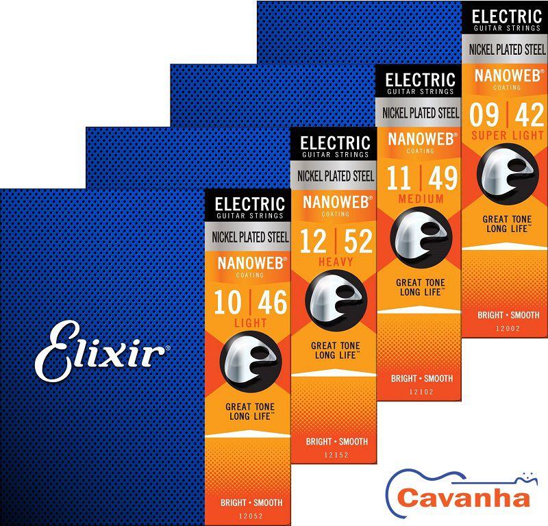Encordoamento Elixir Nanoweb para guitarra (Calibres regulares)  - Cavanha Acessorios Musicais