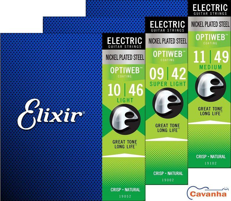 Encordoamento Elixir Optiweb para guitarra (Calibres regulares)  - Cavanha Acessorios Musicais