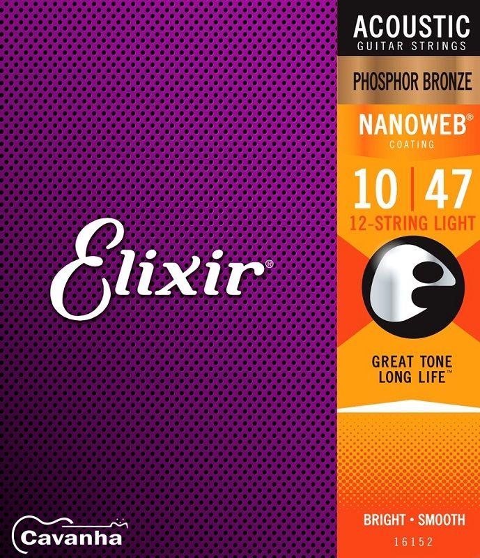 Encordoamento Elixir Phosphor Bronze para violão de 12 cordas  - Cavanha Acessorios Musicais