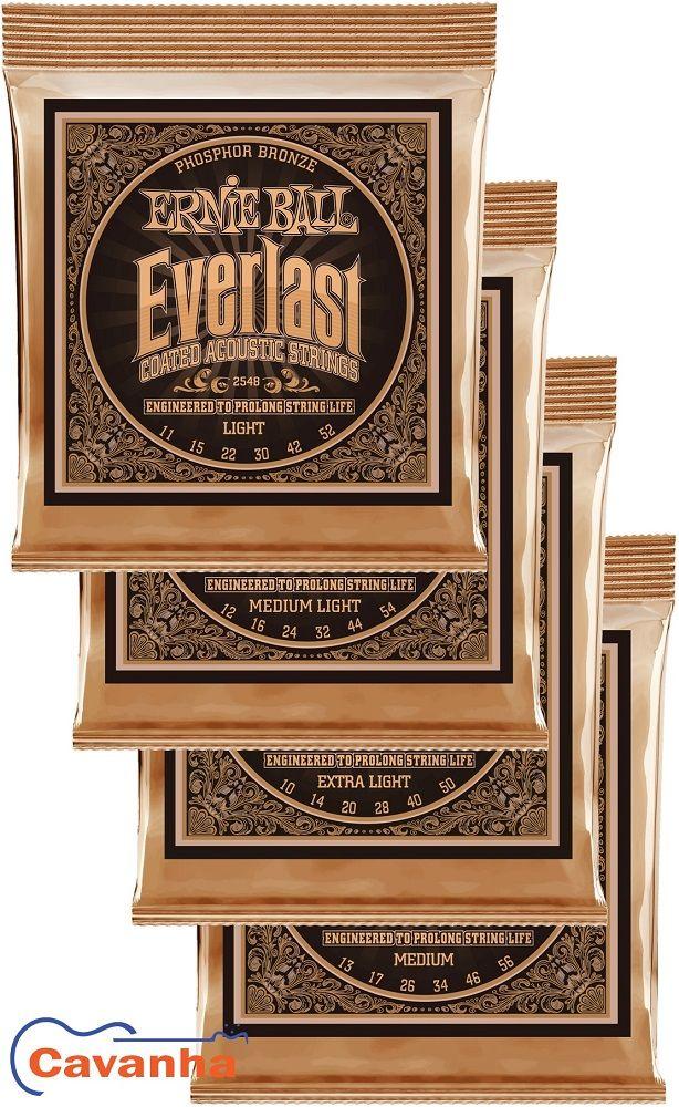 Encordoamento Ernie Ball Everlast Coated Phosphor Bronze para violão acústico  - Cavanha Acessorios Musicais