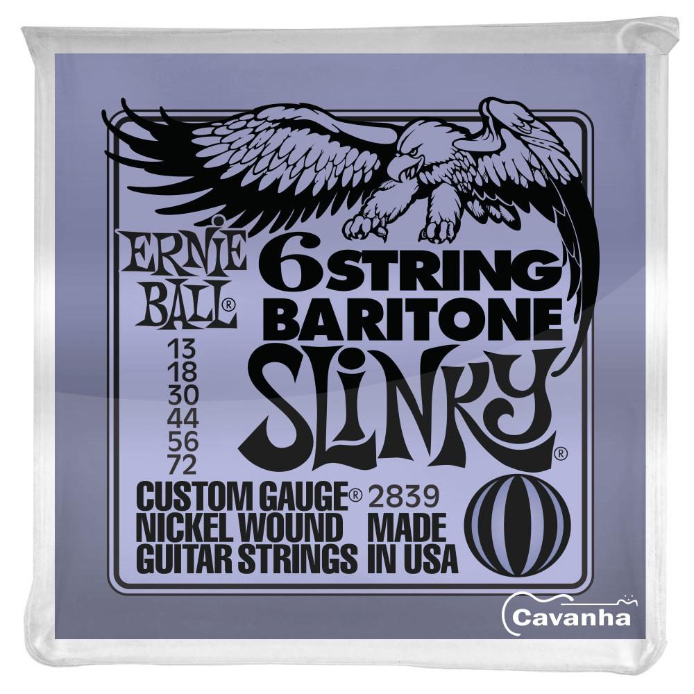 Encordoamento Ernie Ball Baritone Slinky para guitarra (013) Modelo P02839  - Cavanha Acessorios Musicais
