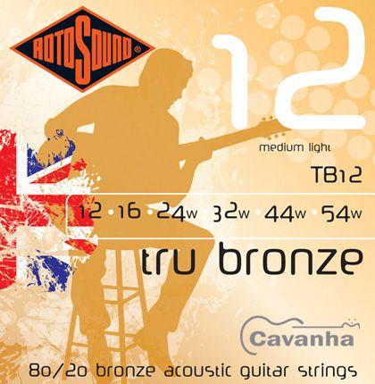 Encordoamento Rotosound Tru Bronze de aço para violão acústico (80/20 Bronze) (012)  - Cavanha Acessorios Musicais