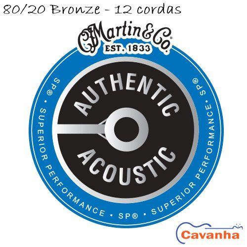 Encordoamento violão 12 cordas Martin Authentic SP 80/20 Bronze  - Cavanha Acessorios Musicais