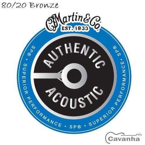 Encordoamento violão Martin Authentic SP 80/20 Bronze  - Cavanha Acessorios Musicais