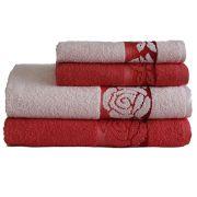 Jogo de Banho Valentine 4 Peças Rose / Vermelho | Camesa