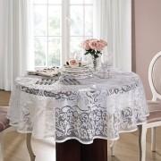 Toalha de mesa Redonda 4 lugares de Crochê Rosas 160 cm   Lepper