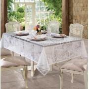 Toalha de mesa Retangular 8 lugares de Crochê Rosas 1,55 x 2,50 m   Lepper
