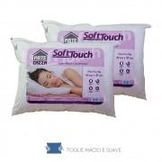 Travesseiro Soft Touch Kit 2 Peças Toque Macio- Fibra Silico