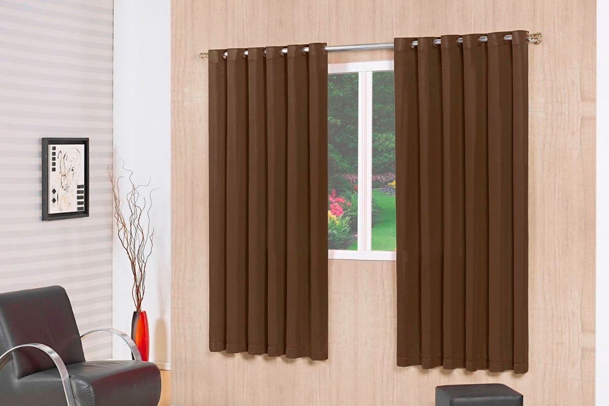 Cortina blackout tabaco com voil 2 00 x 1 80 admirare for Cortinas black out