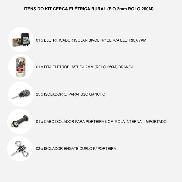 Kit Cerca Elétrica Rural (Fio 2mm Rolo 250m)