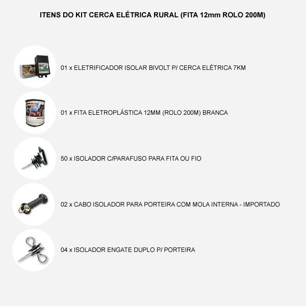 Kit Cerca Elétrica Rural (Fita 12mm Rolo 200m)